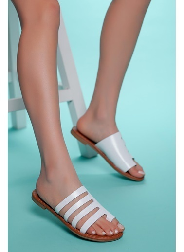 Muggo Hakiki Deri Sandalet Beyaz